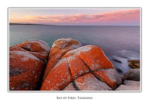 Bay of Fires red rocks at dusk
