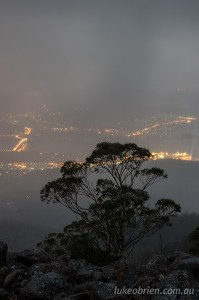 Dark Mofo and city lights from Mt Wellington, Tasmania