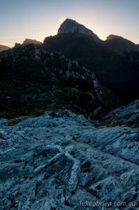 Dusk silhouette, Frenchmans Cap Tasmania