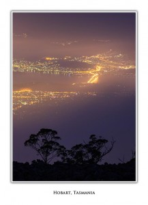 Hobart from Mt Wellington at night