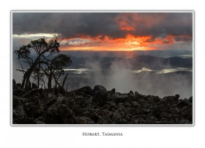 Greeting Card Sunrise over Hobart from Mt Wellington