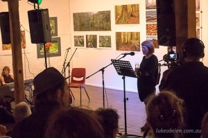Glover Prize winner Janet Laurence addresses the audience at last nights Tarkine Exhibition opening
