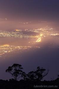 Mt Wellington - mist & Hobart city lights