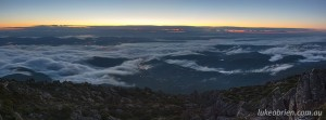 Sunrise over Hobart from Mt Wellington