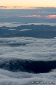 Misty sunrise over Hobart as seen from Mt Wellington