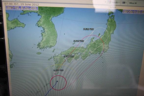 Typhoon steaming towards Yakushima, June 19 2012