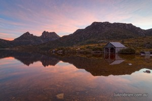 The Dove Lake Boatshed at dusk