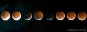 The eclipse of the moon on October 8 2014, Hobart Tasmania