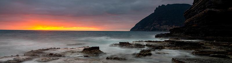 maria island sunrise fossil cliffs