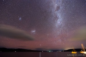 Milky Way, Magellanic Clouds and Aurora Australis