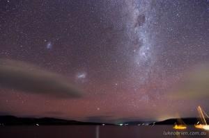 Milky Way, Magellanic Clouds and Aurora Australis