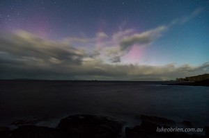 The southern lights over Tasmania's D'Entrecasteaux Chanel last night