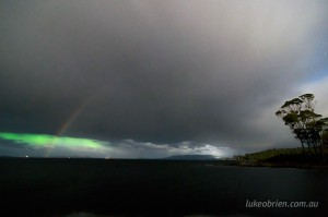 Southern lights and moonbow Tasmania
