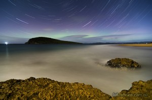 Aurora Australis, Southern Lights Tasmania with Startrails