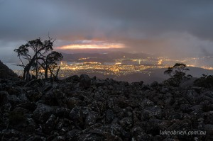 Sunrise over Hobart from Mt Wellington, Tasmania