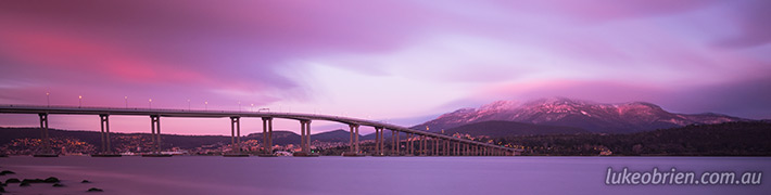 Tasman Bridge and a snowy Mt Wellington