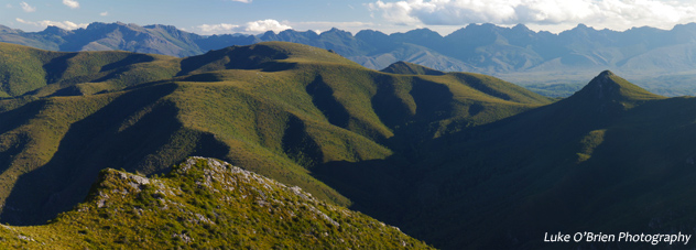 Schnells Ridge, South West Tasmania. View to the Arthurs.