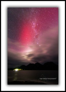 Aurora australis and the Hazards at Coles Bay Tasmania