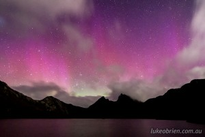 Aurora australis, or Southern Lights, at Cradle Mountain November 2013