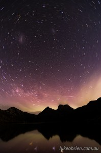 Aurora australis, or Southern lights, at Cradle Mountain, November 9 2013