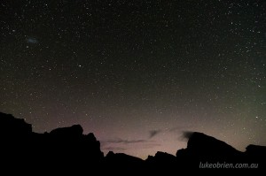 Frenchmans Cap and Sharland Peak, with remnant aurora glow. Missed it by... that much!