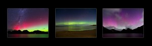 Aurora Australis Tasmania, set of three photos