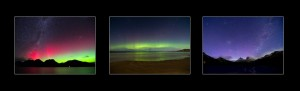 Aurora Australis Tasmania, collection of three photos