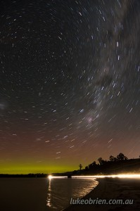 Aurora andstar trails in St Helens, Tasmania