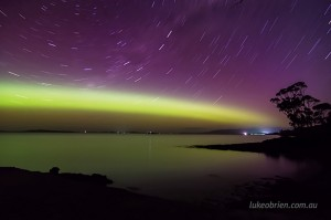 Aurora and star trails Tasmania October 7-8 2015
