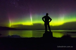 Aurora selfie at Nine Pin Point Tasmania, October 8 2015