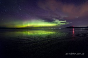 Aurora Australis over Seven Mile Beach, Tasmania. October 2016