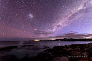 Short star trail with satellite. Bay of Fires