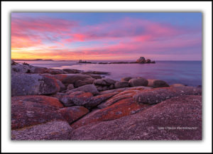 Picnic Rocks sunset Bay of Fires