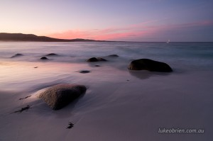 Sunset seascape at Binalong Bay