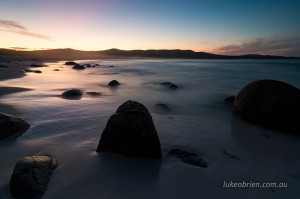 Dusk silhouettes of the Bay of Fires hinterland