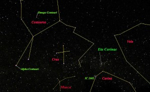 Star Map - Southern Cross, Centaurus & Carina
