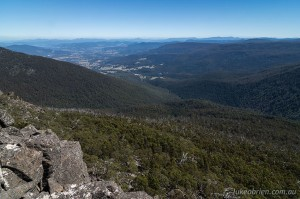 The view south towards the Huon Valley from the Devils Throne, Mt Wellington