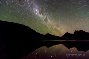 Slightly green airglow at Cradle Mountain