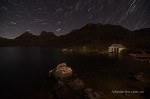 The Cradle Mountain boatshed with startrails
