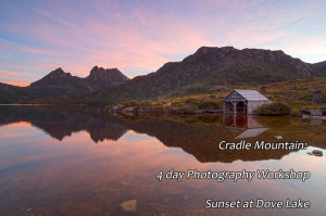 sunset dove lake cradle mountain