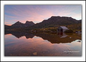 Cradle Mountain Boatshed at sunset