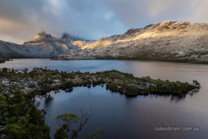 Morning light hitting Cradle Mountain and Marions Lookout.