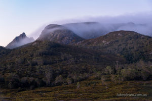 Pre dawn mist on Marions Lookout and Crater peak from Ronny Creek