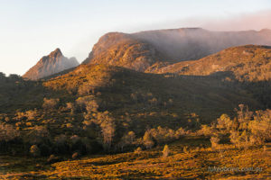 Morning light on Cradle Mountain and Marions Lookout