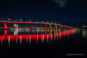 Dark Mofo fireworks and the Tasman Bridge.