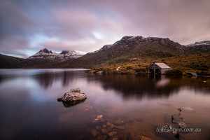 Dusk, Cradle Mountain boatshed on Dove Lake
