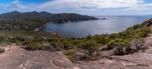 Panoramic view from Mt Parsons over Sleepy Bay and Cape Tourville