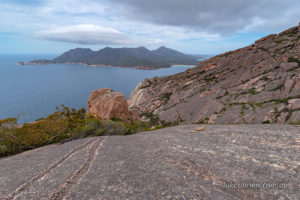 Views from the summit to Wineglass Bay and the Freycinet Peninsula