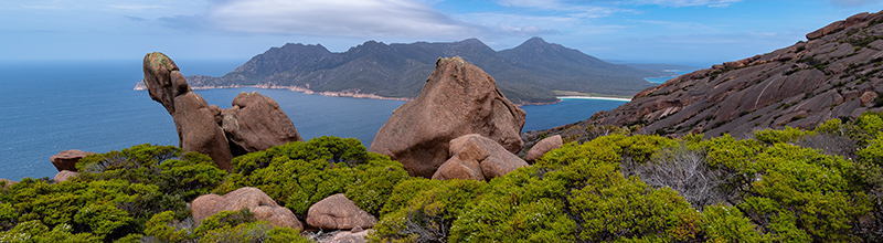 Mt Parsons at Freycinet, view to Wineglass Bay
