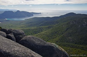 Mt Freycinet summit view to Wineglass Bay